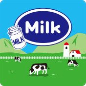 Illustration of the farm and milk.
