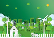 Green city of environment concept paper art style