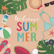 Summer holidays illustration with welcome summer typography design for greeting card, invitation card, banner, poster, leaflet