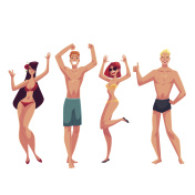 People dancing on the beach in swimming suits and shorts