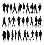 Vector of Silhouette of Business People Commuting