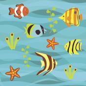Underwater vector background, tropical sea fish set.