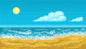 Pixel art seascape.