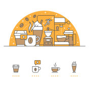 Coffee banner and icons