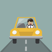 Businessman and driving car