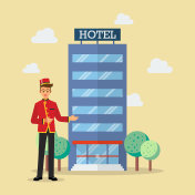 Welcome to hotel bellboy service