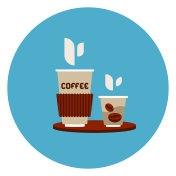 Coffee To Go Cups Icon On Blue Round Background
