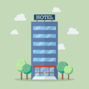 Hotel building in flat style