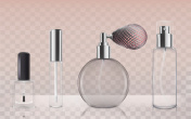 Collection of empty glass cosmetic bottles in realistic style