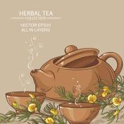 rooibos tea in teapot and tea bowls
