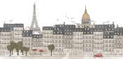 Paris, France - seamless banner of Paris's skyline