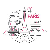 France - modern vector line travel illustration