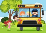 Children and bus driver on school bus