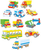 Set of toy cars, trucks and buses
