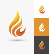 Flame icon in a shape of droplet