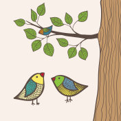 Birds and tree, isolated vector illustration