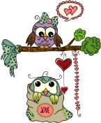 Cute love owl couple for Valentines Day