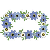 Blue and White Floral Wreath Illustration