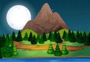 A beautiful landscape at night