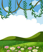 Vine and Green Hills Template