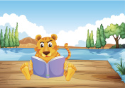 Serious tiger reading a book at the diving board