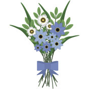Blue and White Floral Bouquet Illustration