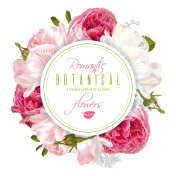 Romantic flowers round banner