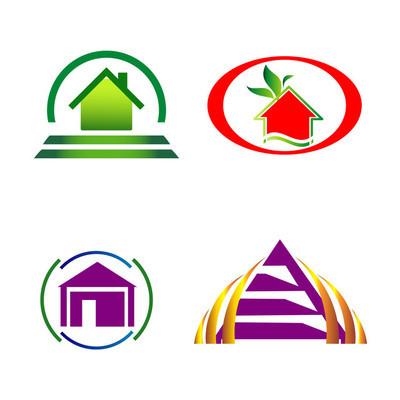 房子和施工图标标志