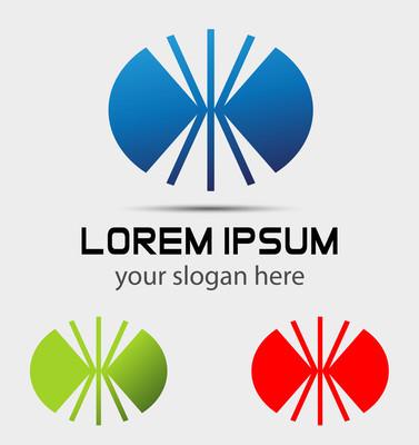卵形标志 logo 设计模板。例如,技术徽标公司图标
