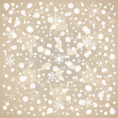 圣诞雪花矢量模式、 棕色和白色相间的经典背景