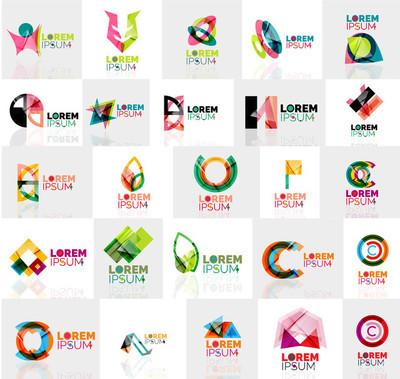 多彩的抽象折纸 logo 的集合