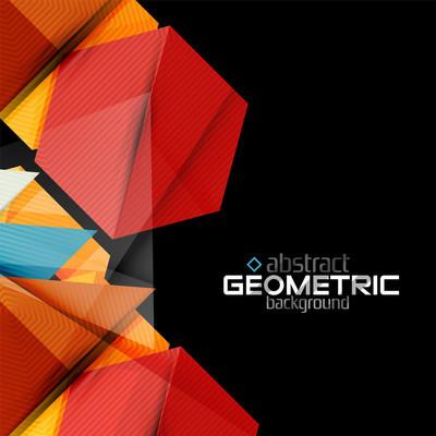 矢量彩色几何形状在黑色背景上