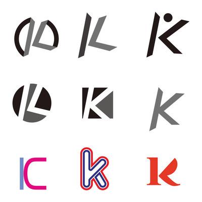 Set of letter logo design template elements collection of vector letter K logo