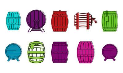 木桶图标集, 颜色轮廓样式