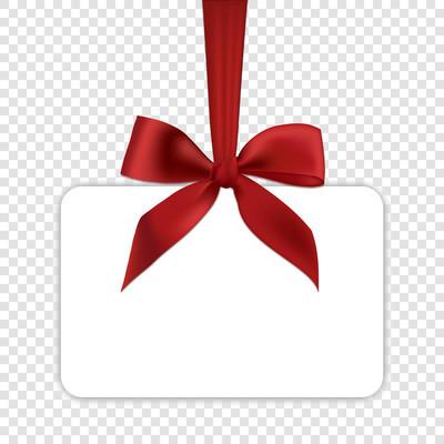 空白白色礼品卡模板与红色弓