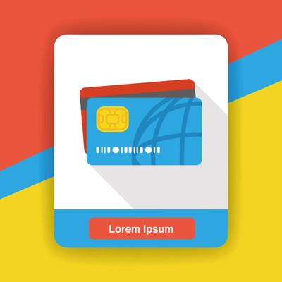 信用卡平面图标图标元素