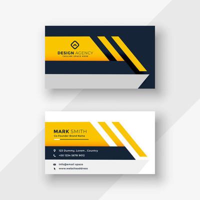 典雅黄色几何名片设计