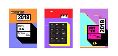 新年2018日历封面模板。丰富多彩的孟菲斯风格背景的日历和海报设计