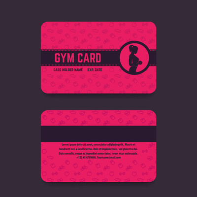 健身俱乐部, 健身房卡模板, 矢量