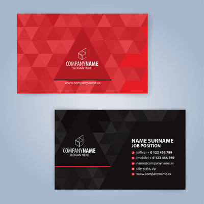 红色和黑色现代名片模板,插图矢量 10