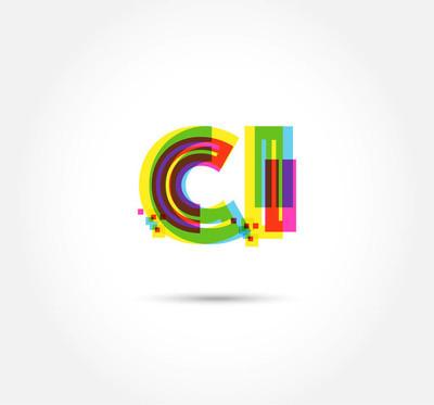 商业横幅的字母徽标 Ci 模板