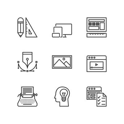 线的图标。网页设计。平的符号