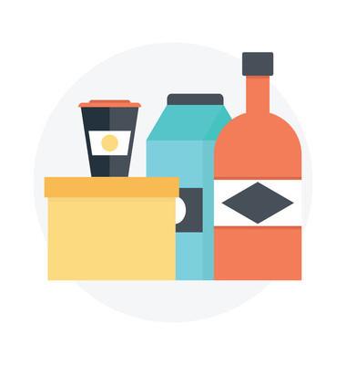 产品包装平面矢量设计。带包装标签的矢量瓶子