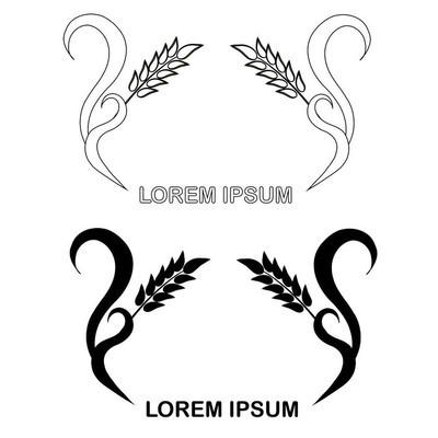 用于产品设计的花圈徽标, 用于包装设计、花圈耳、Lorem ipsum 设计元素股票矢量图
