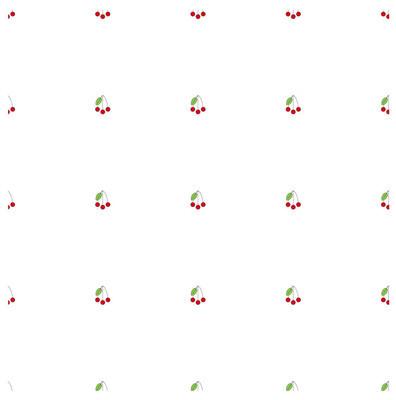 无缝背景平面设计红樱桃, 绿叶在白色的股票矢量插图