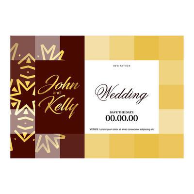婚纱卡片设计模板, 矢量插图