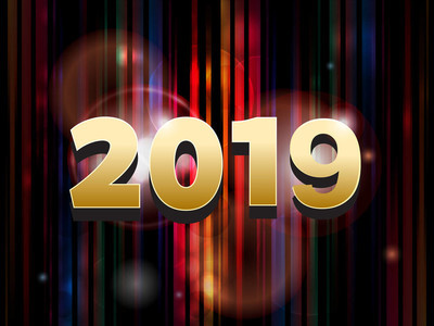 2019年黄金日期在条纹抽象背景