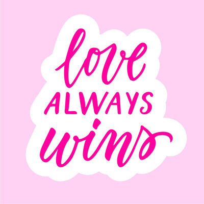 爱总是赢得书法贴纸
