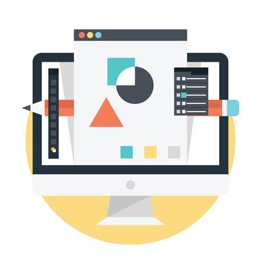 计算机图形设计矢量图。平面设计概念