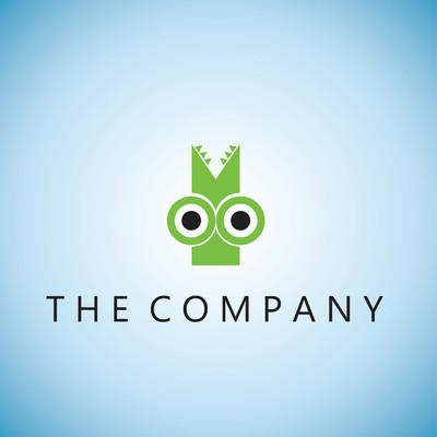 鳄鱼标志创意设计矢量插画背景
